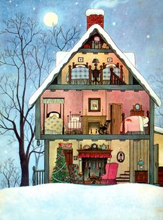 """""""The Night Before Christmas"""" by Clement C. Moore, illustrated by Gyo Fujikawa © 1961"""