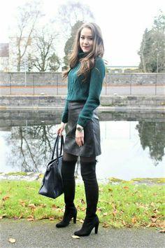 Sweater leather skirt hose OTK boots