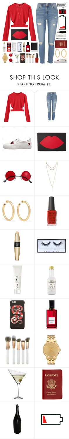 """put on your red shoes and dance for me"" by aniella400 ❤ liked on Polyvore featuring River Island, Lulu Guinness, Wet Seal, Jennifer Fisher, Max Factor, Huda Beauty, NYDG, Gucci, Diana Vreeland and Spectrum"