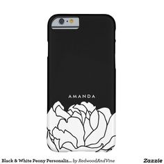 Black & White Peony Personalised Barely There iPhone 6 Case