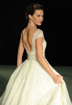 Camille wedding gown by Anne Barge - French Chantilly lace ball gown.