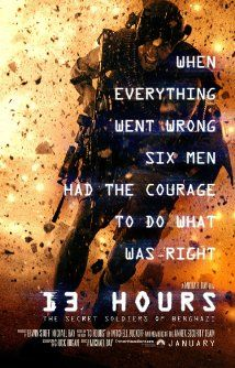 13 Hours: The Secret Soldiers of Benghazi (January 15, 2016) an action drama, thriller film directed by Michael Bay, written by Chuck Hogan, Mitchell Zuckoff. Stars: John Krasinski, David Giuntoli, Pablo Schreiber, Toby Stephens, Max Martini, James Badge Dale, and others. An American Ambassador is killed during an attack at a U.SD. compound in Libya as a security team struggles to make sense out of the chaos.