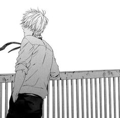 Image via We Heart It #alone #blackandwhite #boy #manga #monochrome #mangaboy #mangacap
