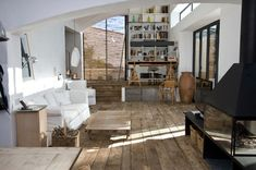 perfect living room - inside a modern Finca near Barcelona Country Interior Design, Interior And Exterior, Country Interiors, Room Interior, Reclaimed Wood Floors, Estilo Interior, Living Spaces, Living Room, Deco Design