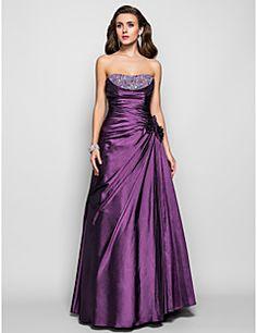 A-line Strapless Floor-length Taffeta Evening/Prom Dress – USD $ 189.99