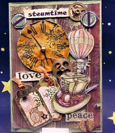 Steampunk card Din A5
