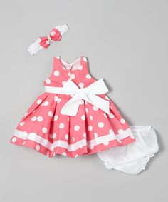 Look at this #zulilyfind! Pink Polka Dot Dress Set - Infant by Shanil #zulilyfinds