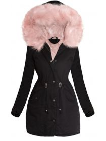 PARKA MARJORY neagră cu blană roz Fashion, Moda, Fashion Styles, Fashion Illustrations