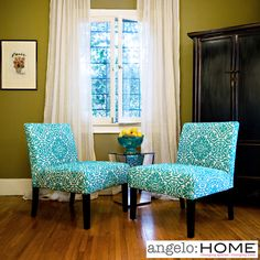 I'm digging armless chairs. angelo:HOME Bradstreet Damask Turquoise Blue Armless Chairs (Set of 2)