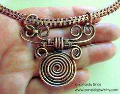 Copper Collar & Scroll Pendant Necklace   zoraida - Jewelry on ArtFire