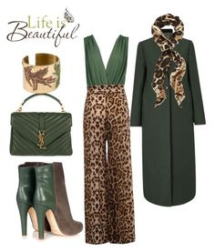"""""""Green envy"""" by subvilli ❤ liked on Polyvore featuring Jigsaw, Boohoo, Malone Souliers, Yves Saint Laurent and Brewster Home Fashions"""