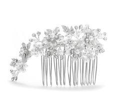 Silver & White Pearl Bridal Hair Comb   Bridal Hair Comb