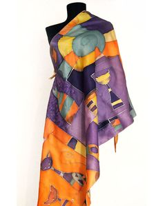 Hand painted silk scarf in yellow, orange, violet, purple and navy blue colors with comic cat design. Big paint by hand shawl with funny cats and decorative motives. Extravagant and luxury women gift.  Painted on 100 % natural satin silk with hand rolled edges.  Size : 36 in / 71 in