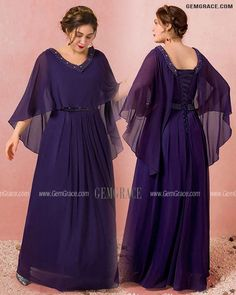 10% off now Custom Elegant Purple Formal Long Chiffon Evening Dress Beaded Neck with Cape Sleeves High Quality at GemGrace. Click to learn our pro custom-made service for wedding dress, formal dress. View Evening Dresses for more ideas. Stable shipping world-wide. Mother Of The Bride Looks, Chiffon Evening Dresses, Affordable Dresses, Bridesmaid Dresses, Wedding Dresses, Dress Formal, Custom Dresses, Dresses Online, Cape