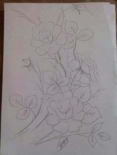Flower Line Drawings, Art Drawings, Fabric Painting, Painting & Drawing, Kids Printable Coloring Pages, Rose Patterns, Fabric Paint Designs, Hand Painted Gourds, Merlin