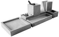 Schreibtischset aus Beton