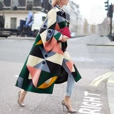 Fashion Geometry Printed Colorful Loose Woolen Long Coat , Fashion Geometry Printed Colorful Loose Woolen Long Coat , Style inspiration Source by knotowear Winter Trench Coat, Long Trench Coat, Winter Coats, Mode Outfits, Fashion Outfits, Womens Fashion, Latest Fashion, Fashion Terms, Fashion Group