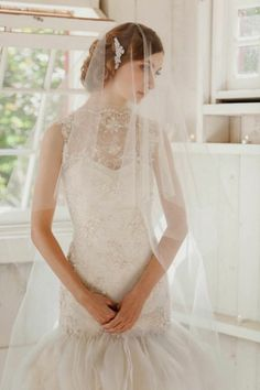 2014 gossamer bridal veil by Liv Hart for the classic, romantic bride