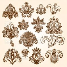 Collection of mehndi style ornamental flowers - indian ethnic tracery for tattoo, 29874, download royalty-free vector clipart (EPS)