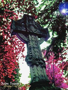 Gothic Cross Tombstone Fine Art Photography by SpinningCastle Cemetery Statues, Angel Statues, Gothic Crosses, Monster Mash, Gothic House, Crucifix, Vampires, Fine Art Photography, Old World
