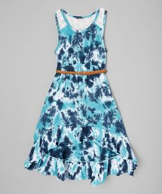Look at this Blue Belted A-Line Dress - Girls on #zulily today!