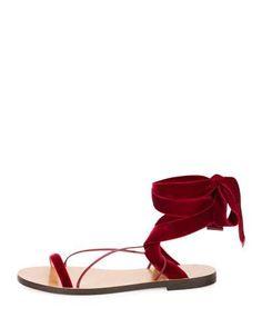 VALENTINO VELVET LACE-UP FLAT SANDAL. #valentino #shoes #flats