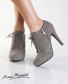 anne michelle lace up booties
