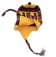 Gelbe Kinder #Chullo #Mütze aus #Peru, #Alpakawolle. Kinder von 5 - 10 Jahre  Gestrickt von unseren Strickerinnen in Cusco/ Peru aus warmer Alpakawolle. Durch die elastische Strickweise Einheitsgröße. Cusco Peru, Beanie, Hats, Fashion, Ponchos, Accessories, 10 Years, Arts And Crafts, Moda