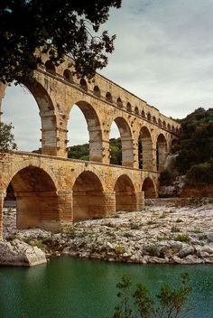 The ancient roman aqueduct Pont du Gard, Nimes, Provence, France