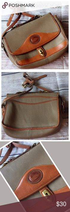 Vintage Dooney & Bourke Used condition. Leather is a bit cracked on corners where flap folds and and a little along the strap. Has top handle and is intact. Measures 10.5 inches long, 8.5 inches tall, 3 inches wide and had a 19-22 inch drop. Color is a greenish tan. Dooney & Bourke Bags Crossbody Bags