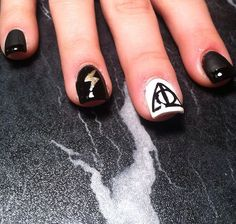 Harry Potter Nail Art Deathly Hallows Symbol with lightning bolt, matte black polish