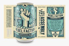 The Brandit and EBBING Branding + Design teamed up to create this propaganda-inspired craft beer packaging for Unlawful Assembly Brewing Company, a Texas-based brewery. Craft Beer Brands, Craft Beer Labels, Wine Labels, Bottle Packaging, Beverage Packaging, Coffee Packaging, Food Packaging, Brewery Logos, Beer Label Design