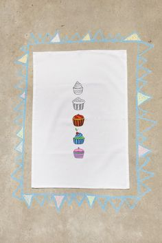 Charlie & Rosie ~ Products ~ Tea towel with pre printed Jaci Stenner SWEET cupcakes ~ Shopify