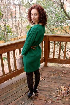 cold weather dress + tights