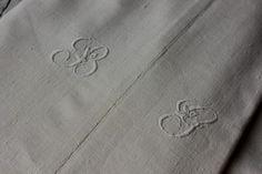 Antique French linen sheet c1910 78X92 BG old heavy metis textile