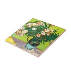 SOLD! - #Majolica #Jar #Branches #Oleander #Vincent van #Gogh #Tile #painting #postimpressionism #oil #fineart #Paris #France #decoration #home #gift