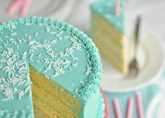 vanilla butter birthday cake (middle layer of blueberry lemon cake)