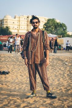 What People Wore To A Music Festival Held In A Century Indian Palace Mukul, stitched this outfit out of fabric made by people in Afghanistan. All the colors are tiny, hand-stitched threads that took a lot of time. Estilo Hipster, Estilo Hippy, Music Festival Outfits, Music Festival Fashion, Music Festival Style, Coachella Festival, Rave Festival, Music Festivals, Hippie Outfits