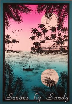Stampscapes Tropical Moonlight