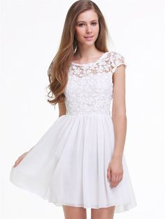 Sheinside® Women's Short Sleeve Hollow Floral Crochet Dress http://www.amazon.com/White-Sleeve-Hollow-Floral-Pleated/dp/B00LNRUUWW/ref=aag_m_pw_dp?ie=UTF8&m=AOXK1ICZ8RWWO