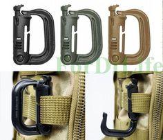 2pcs Molle Tactical Backpack EDC Shackle Carabiner Snap D-Ring Clip KeyRing #Unbranded