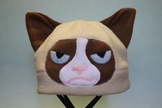 Grumpy Cat Fleece Hat by HouseofHonore on Etsy Meme Comics, Fleece Projects, Sewing Projects, Sewing Ideas, Grumpy Cat, Memes Humor, Crazy Cat Lady, Crazy Cats, Magikarp Hat