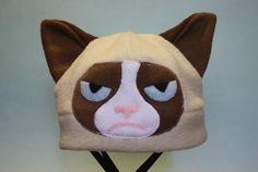 Grumpy Cat Fleece Hat by HouseofHonore on Etsy Meme Comics, Grumpy Cat, Crazy Cat Lady, Crazy Cats, Memes Humor, Magikarp Hat, Christmas Craft Show, Whale Plush, Sombreros