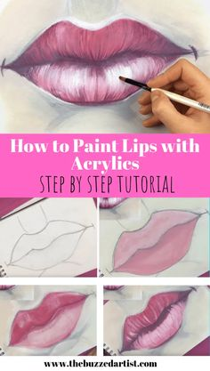 How to Paint a Realistic Lips and Mouth with Acrylic | Easy Step-by Step Tutorial for Beginners