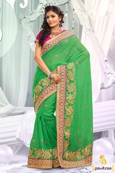Sea green pink embroidery designer Saree which is embroidered, resham worked and lace patti worked. The finest net and dhupion made beautiful attire.