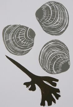 SALE Grey shells lino print
