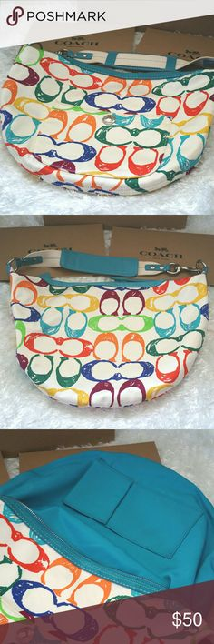 """✔SALE✔COACH Hampton scribble hobo bag Very clean and super cute!!  100% authentic! Fun multi-color Coach shoulder bag with zip top closure silver hardware one zipper pocket,  two Media Pockets inside.  No ripping  No stains.  Normal signs of wear from normal use.  Great used condition.   Size: 12""""(L)x 9.5""""(H)x 1""""(W)   * REASONABLE offers are WELCOME!!  *Check out my other listings to bundle and SAVE 10%!! Coach Bags Hobos"""