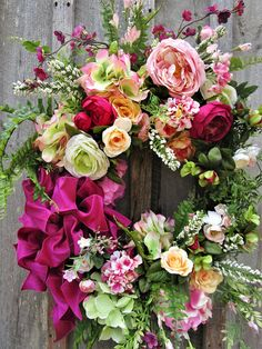 Floral Wreath, Designer Summer Wreath, Country French Wreath, Garden Wreath, Victorian Wreath, XL Floral Wreath, Luxury Floral Wreath Wellesley Victorian Garden Wreath. Simply breathtaking! A magnificent collection of Hydrangeas, Roses and other garden favorites mingle with meadow