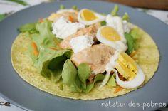 Wraps c/ salmão, ovo cozido e requeijão | ratatui dos pobres