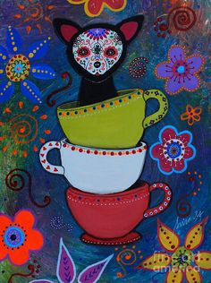 Dia De Los Muertos Painting - Teacups And A Chihuahua by Pristine Cartera Turkus